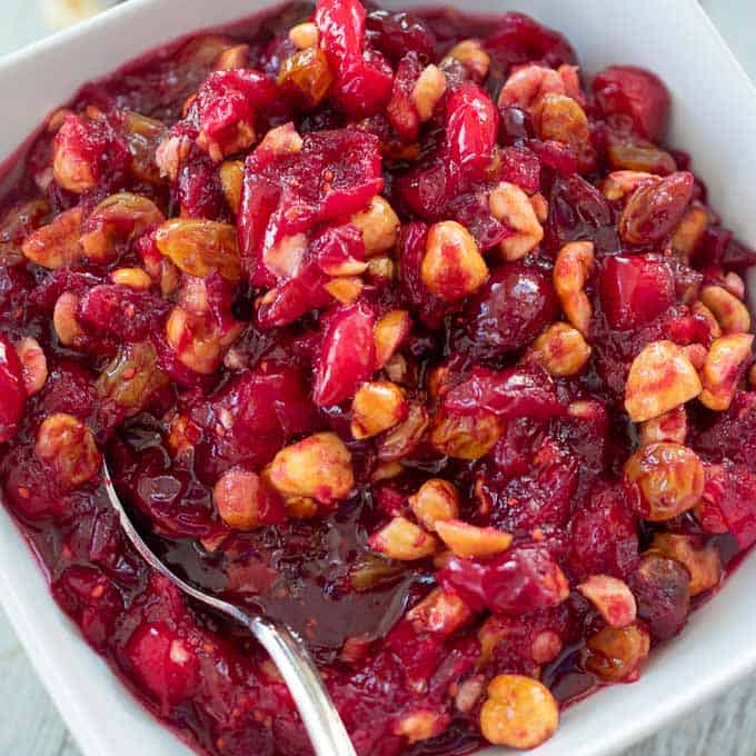 Bowl of homemade cranberry sauce.