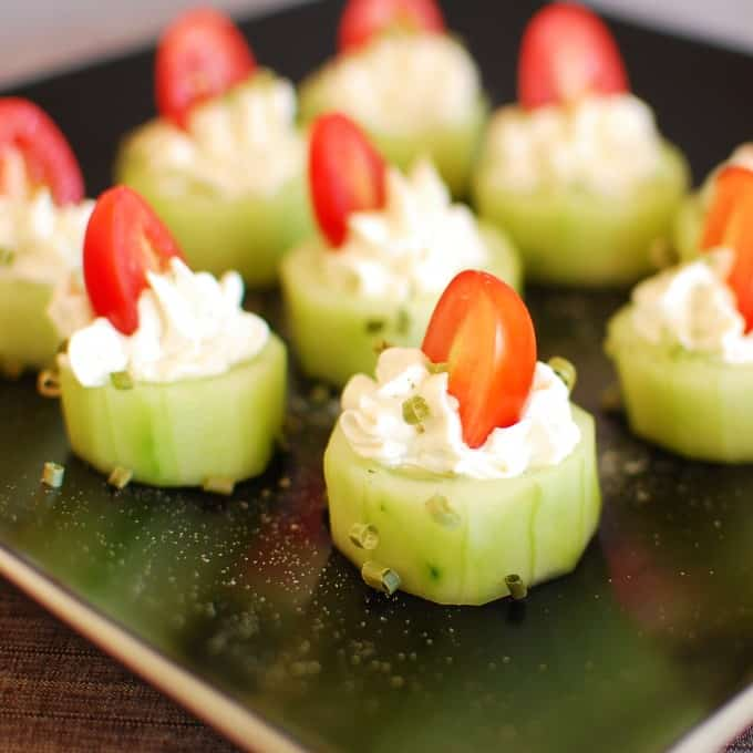 Cucumber bites. Easy appetizer that your company will love! | joeshealthymeals.com