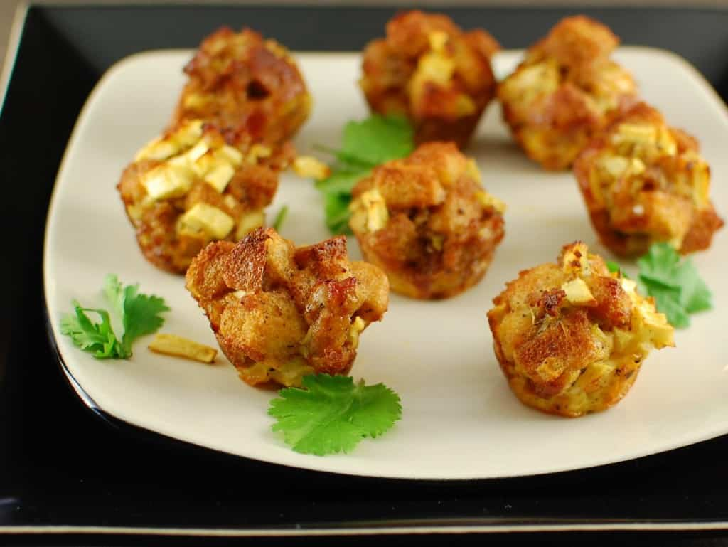 apple and sausage  dressing bites