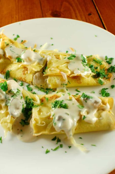 Crepes St. Jacques. Silky and elegant but easy to make. Invite some friends! | joeshealthymeals.com