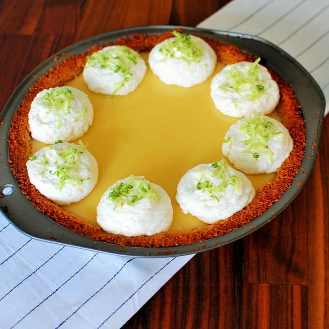 Pie in a metal pie plate.