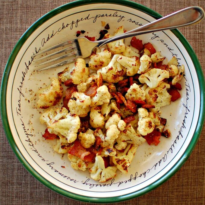 Pan seared cauliflower with bacon and garlic. Wonderful side dish to have with chicken or a small steak. Enjoy!   joeshealthymeals.com