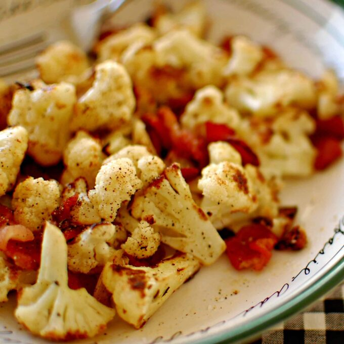Pan seared cauliflower and bacon. Wonderful side dish to have with chicken or a small steak. Enjoy!   joeshealthymeals.com