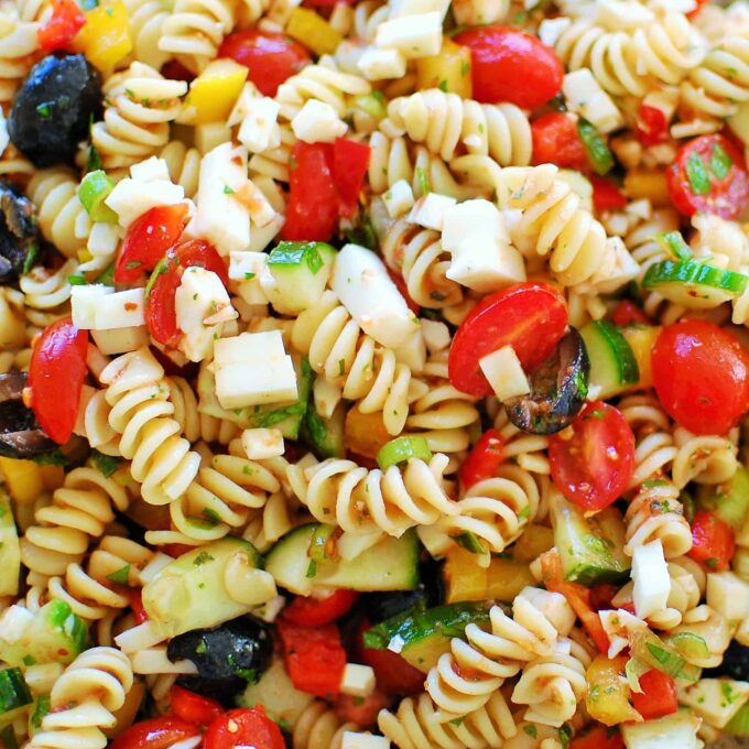 Close-up view of Cold Pasta Salad