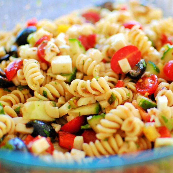 Close-up side view of Cold Pasta Salad