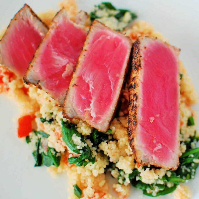 Couscous and Spinach, Ahi Tuna