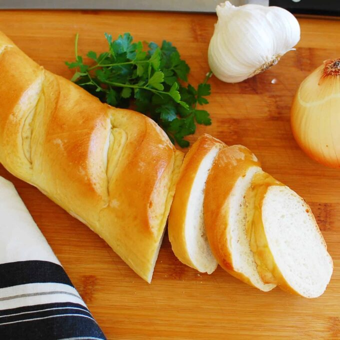Easy French Baguette - this bread has great texture and is perfect with any meal.  Great recipe. | joeshealthymeals.com