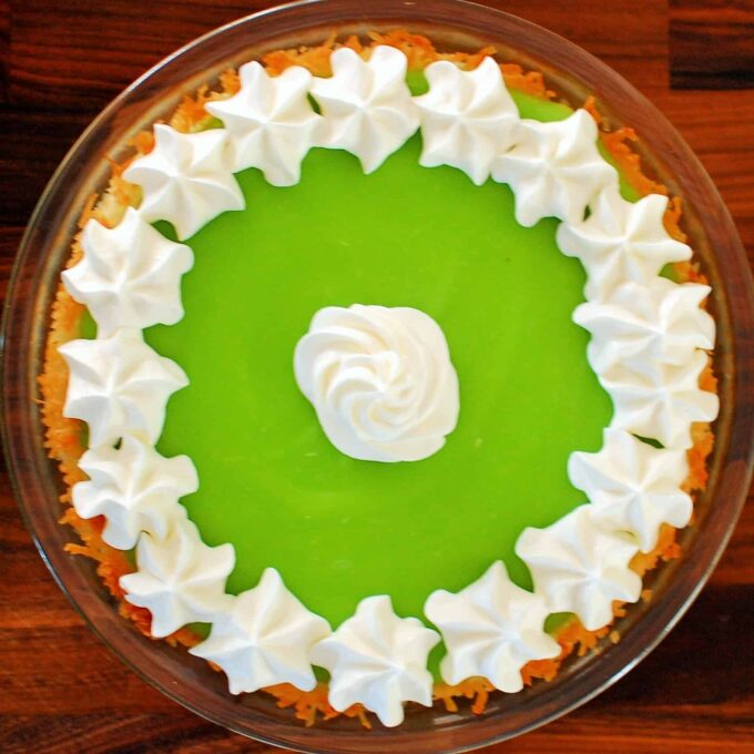Lime coconut pie overhead view.
