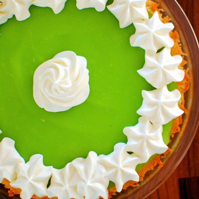 Lime pie with whipped cream topping.