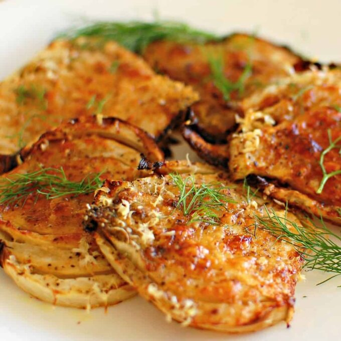 Roasted fennel with parmesan cheese. Easy to prepare and makes a nice crunchy side dish. | joeshealthymeals.com