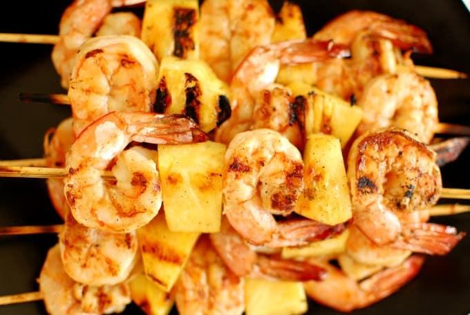 Sesame oil with tamari grilled shrimp