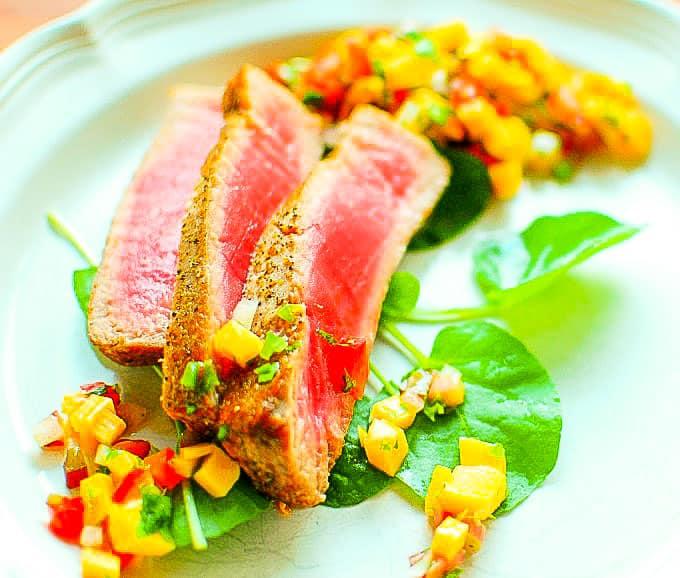Rhubarb mango salsa with seared tuna. Makes a tangy accompaniment to all kinds of food.   joeshealthymeals.com