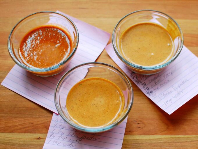 3 small bowls of southwest dressing recipe tests.