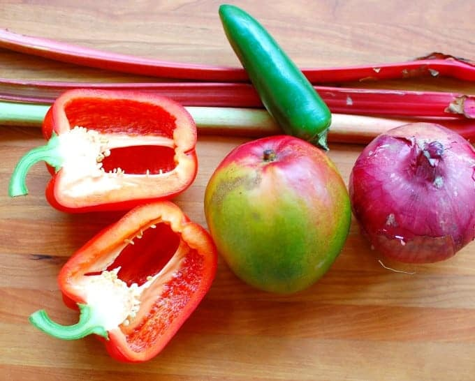 Rhubarb mango salsa ingredients. Makes a tangy accompaniment to all kinds of food.   joeshealthymeals.com