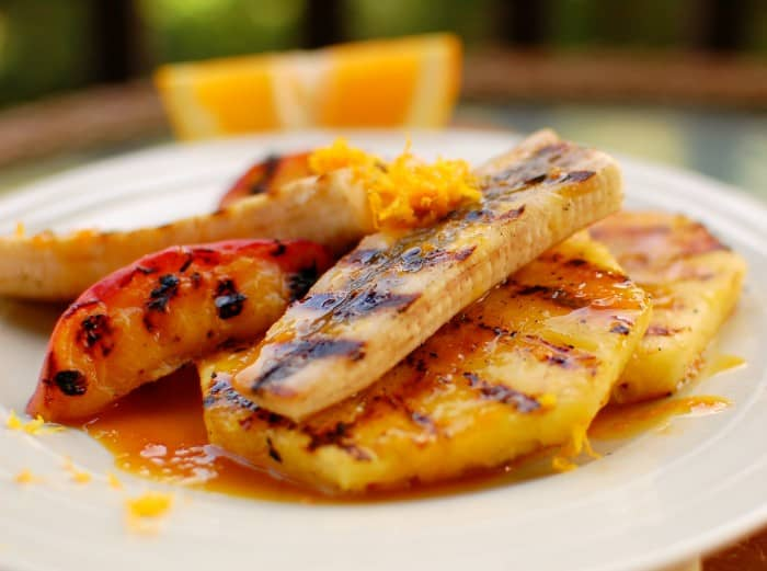grilled fruit with orange sauce