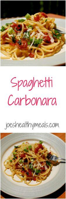 Spaghetti carbonara collage.