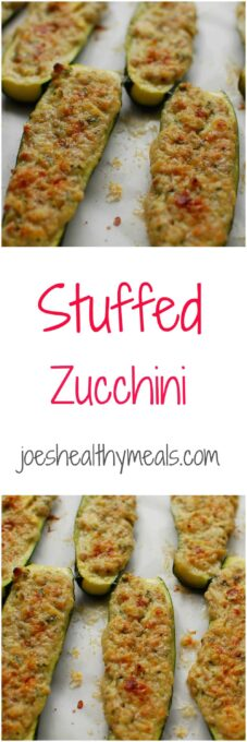 stuffed zucchini collage   joeshealthymeals.com