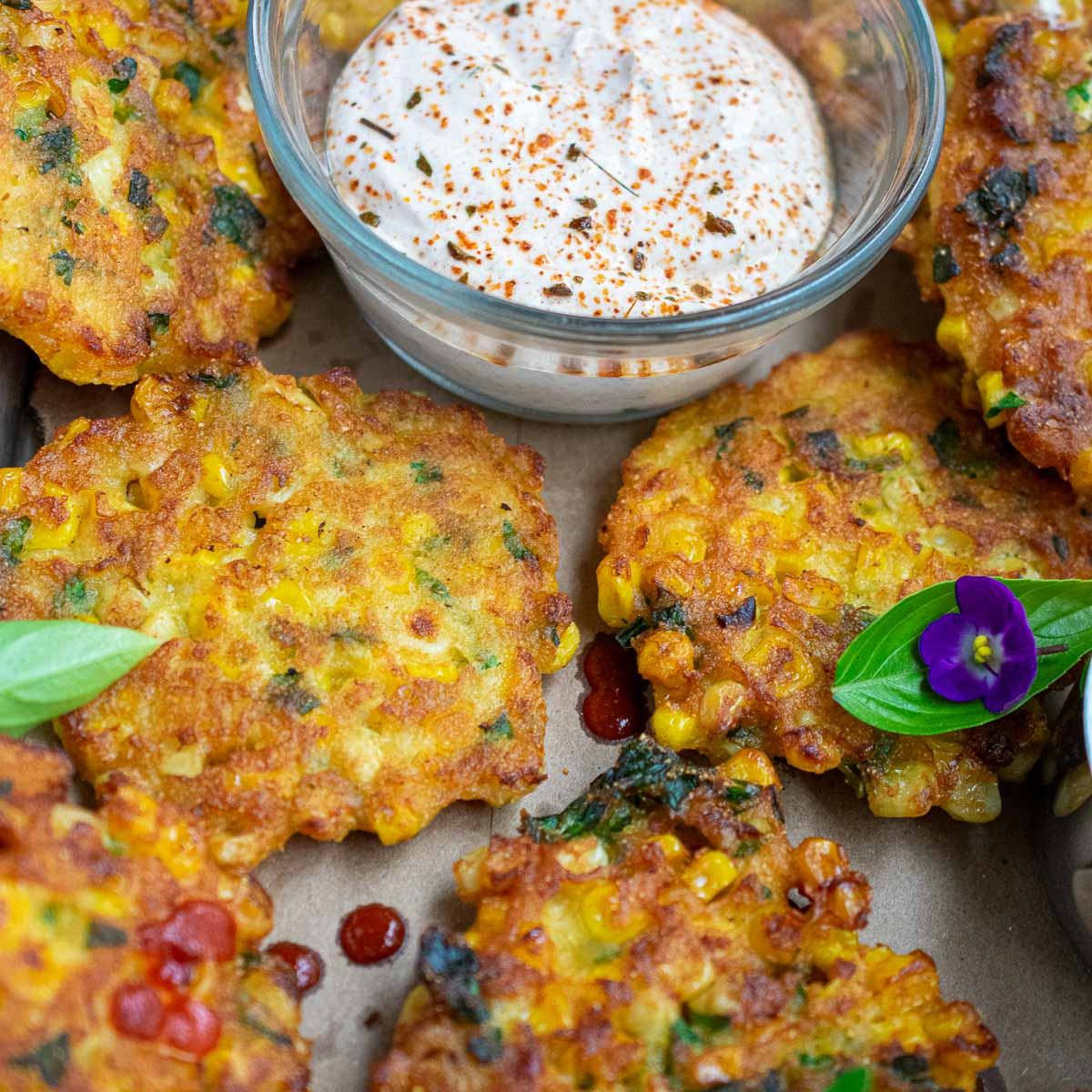 Close up view of fritters.
