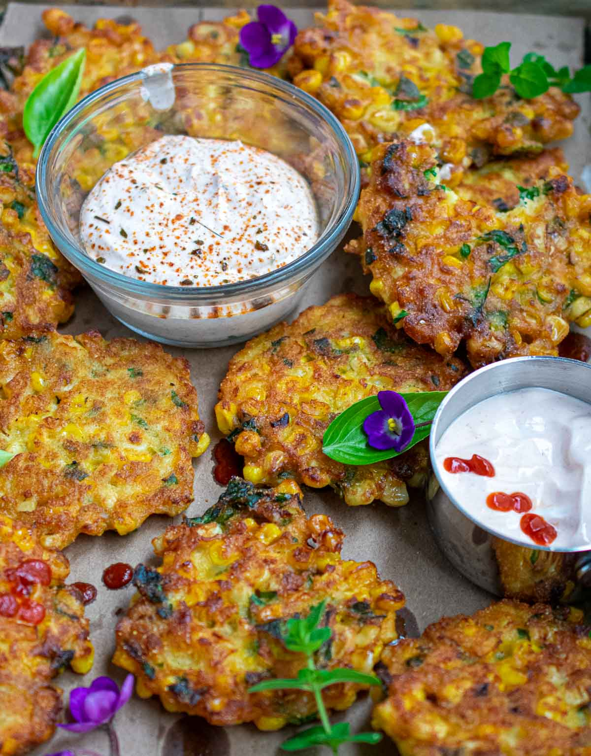 Fritters on a baking sheet.