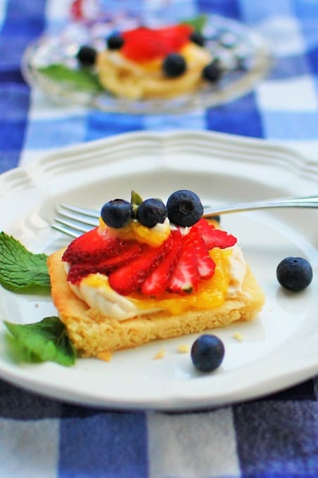 Red, White and Blue Cookie Bars. Simple but deliciously tangy and sweet.   joeshealthymeals.com