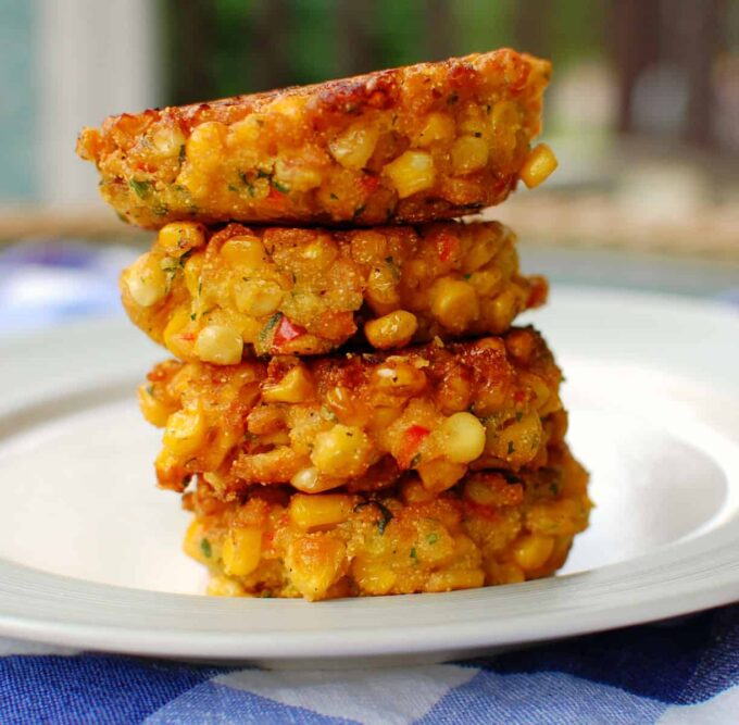 stacked corn fritters   joeshealthymeals.com