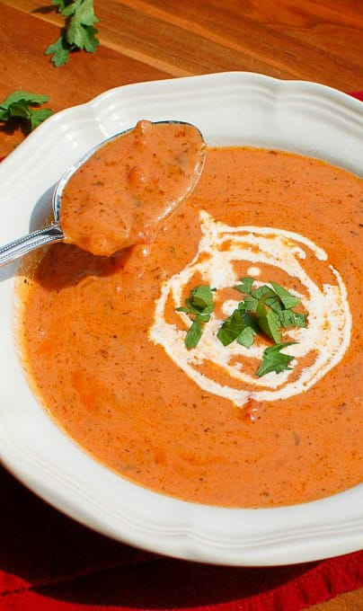 Tomato bisque. Wonderful tasting soup you will want to make often! | joeshealthymeals.com