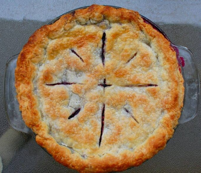 browned blueberry pie