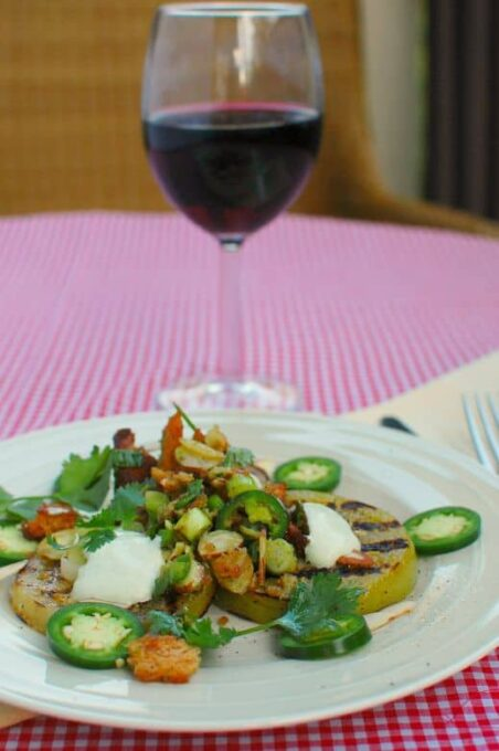 Grilled Green Tomatoes with Cilantro Scallion Salad