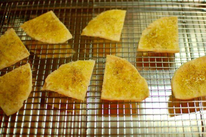 pita on baking rack