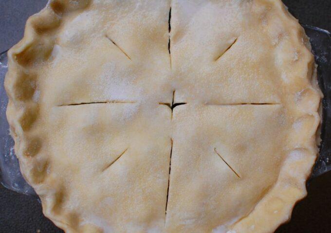 scored blueberry pie crust