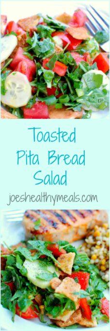 Toasted pita bread salad collage   www.joeshealthymeals.com
