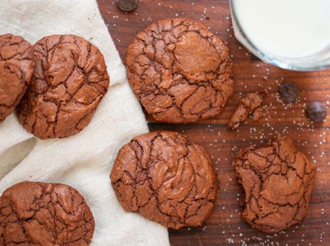 overhead shot of cookies and milk