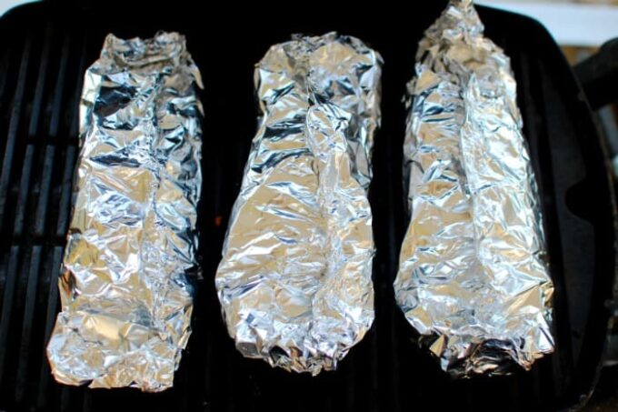 Foil packs on the grill. My small gas grill was easily big enough for three packs.   joeshealthymeals.com