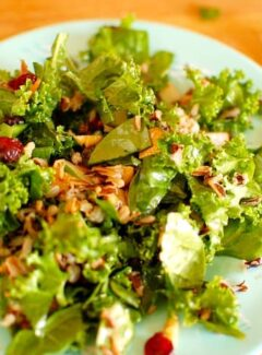 Kale and wild rice salad with pomegranate molasses dressing. Hardy and healthy salad with a pomegranate molasses dressing. Mighty good tasting recipe.   joeshealthymeals.com