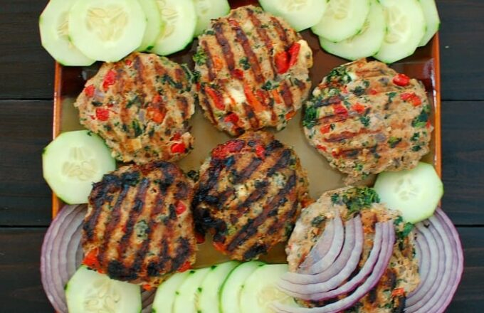 Grilled Greek style turkey burgers. Moist and tasty. This healthy recipe rocks.   joeshealthymeals.com