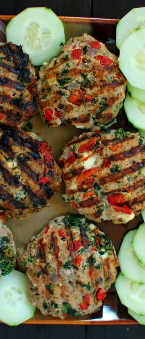 Turkey Burgers Greek Style are healthy, moist and tasty. Easy to put together recipe, 30 minutes start to finish. Everyone will love these.   joeshealthymeals.com