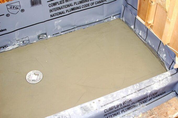 Poured concrete pan