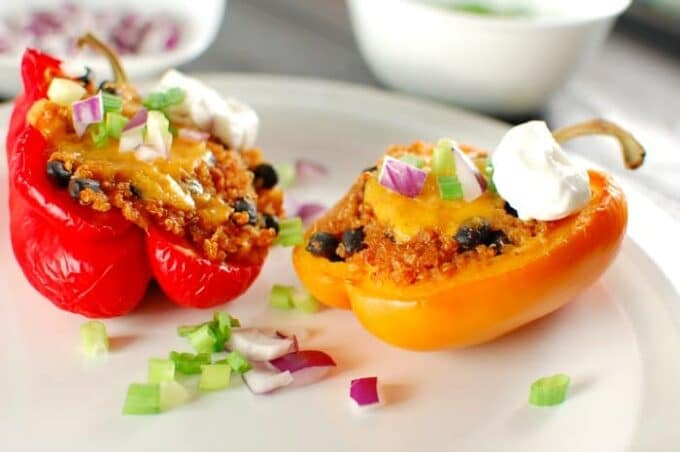 Quinoa Stuffed Bell Peppers. Easy and delicious main dish. Try this recipe today! | joeshealthymeals.com