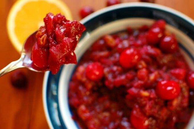 Red Wine cranberry sauce. Tart and not too sweet, this sauce is excellent with turkey and ham. | joeshealthymeals.com