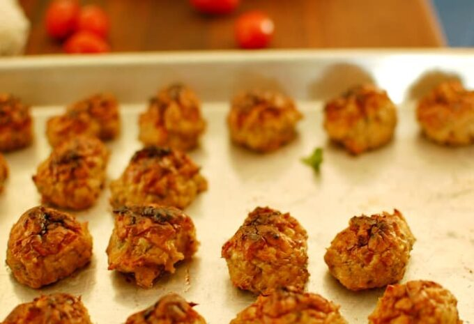 Baked Italian chicken meatballs. 15 minutes on 350 degrees and 3 minutes under the broiler.   joeshealthymeals.com