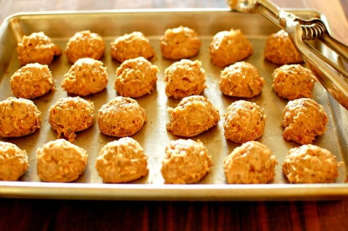 Chicken meatballs. Ready for the oven. | joeshealthymeals.com