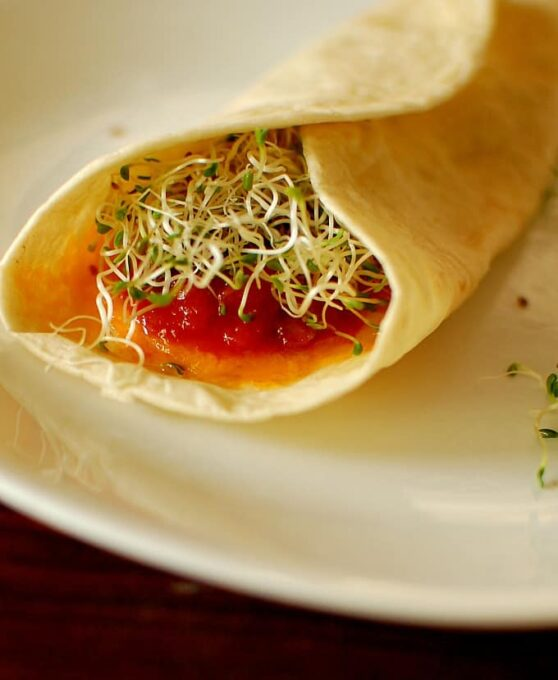 Quesadilla with sprouts.   joeshealthymeals.com
