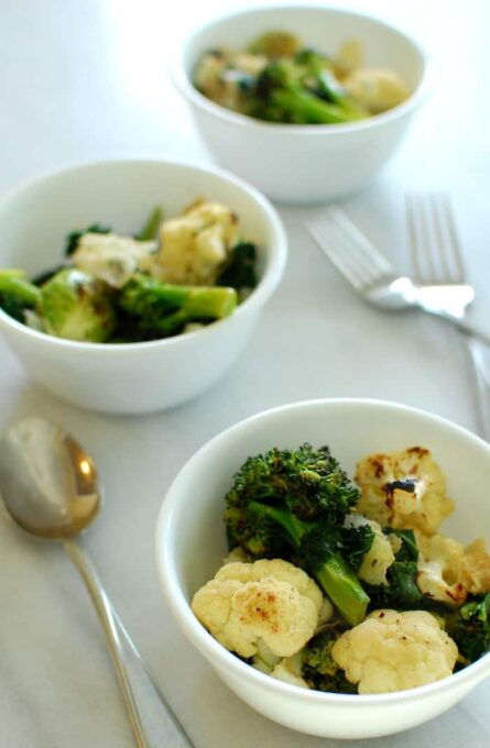 Bowls of roasted cruciferous vegetables. Start your new year by eating more of these vegetables. Full of vitamins and minerals. | joeshealthymeals.com