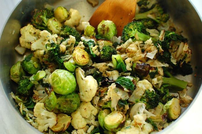 Roasted cruciferous vegetables in a skillet.