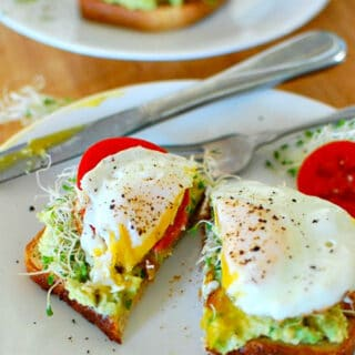 toast with fried egg and sprouts