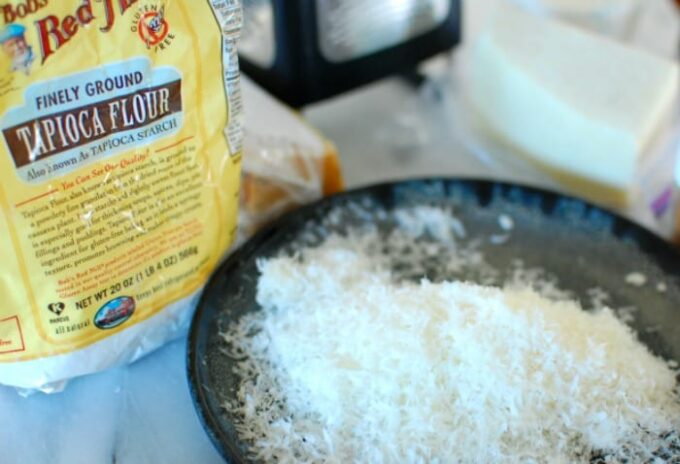 Grated cheese for Brazilian cheese balls. | joeshealthymeals.com