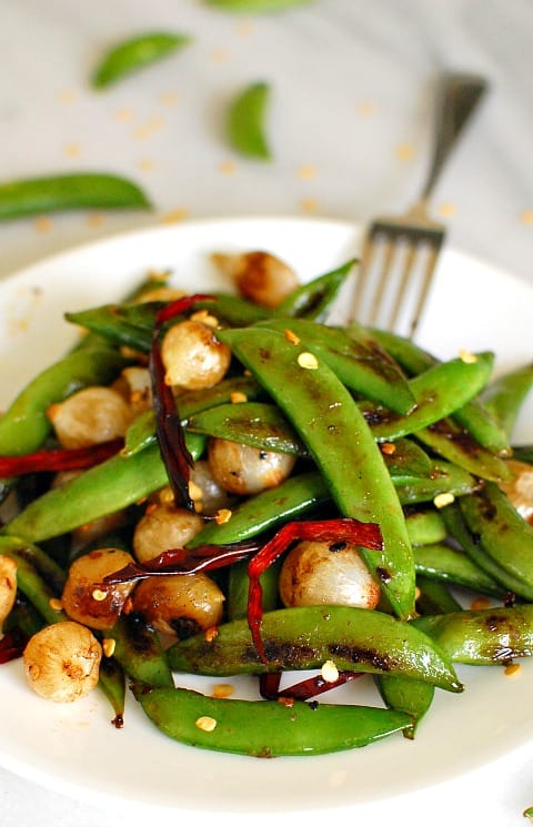 Seared snap peas with pearl onions