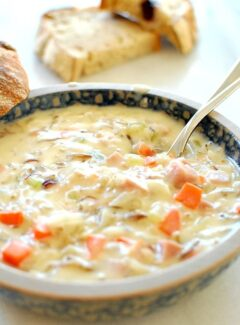 Ham wild rice soup. Easy wild rice soup for these cool winter days. | joeshealthymeals.com