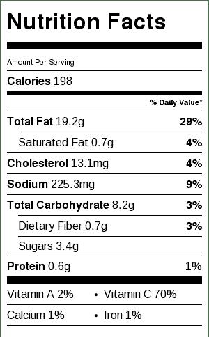 nutrition label, Classic Crab Louie