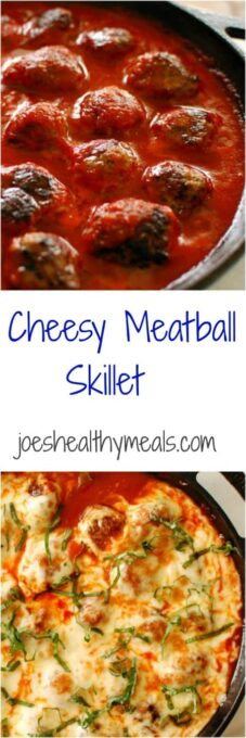 Cheesy meatball skillet. Full of Italian flavors and cheesy goodness. This recipe is is one to keep making over and over!   joeshealthymeals.com